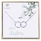 CHICLOVE Collar de Soul Sisters - Collar de Plata esterlina con Dos círculos Colgante...