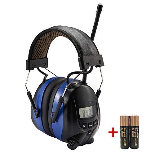 Gehörschutz mit Radio AM/FM und 3,5-mm-Klinken- / MP3-Stereoanschluss,Gehörschutzmuffen für Werkstatt,Sägen,Garten, Mähen, BAU, Traktorfahren,SNR 30 dB