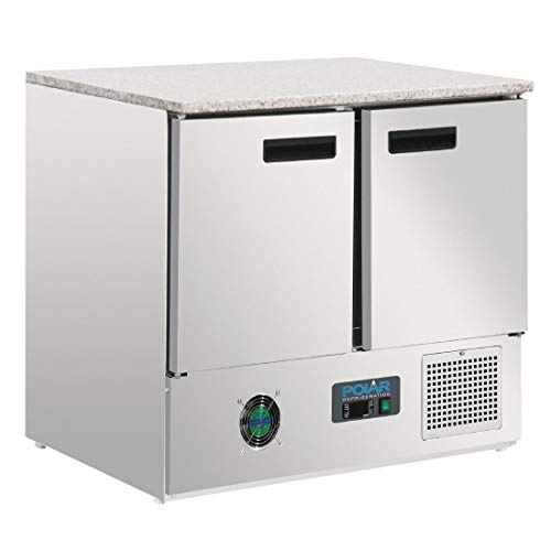 Bancone refrigerato Polar marmo con piano di lavoro, 2porte 240LTR frigo