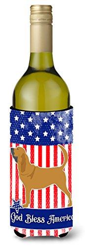 Caroline tesoros del Estados Unidos patriótica perro de San Huberto botella de vino bebida Insulator Hugger, 750ml, Multicolor