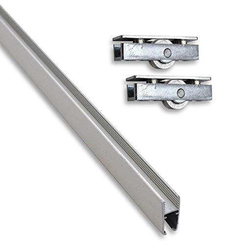 Montageset bestehend aus Aluminium-Montageschiene (0,95 m) für Glasscheiben inkl. 2 Laufrollen