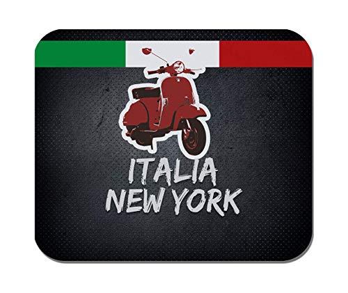 Rae Esthe Makoroni - Italia New York Copy Italian Scooter Italy Flag - Goma Antideslizante - Mousepad de computadora, Juegos, Oficina