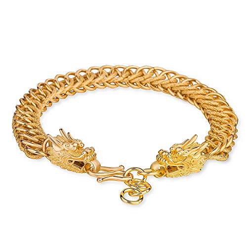 Pulsera chapada en oro con diseño de dragón hecho a mano, chapado en cobre de 24 quilates, pulsera de dragón de la suerte