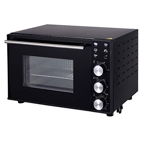 WOLTU BF02sz Minibackofen 30 Liter, 1800 Watt Toasterofen | Pizzaofen | Krümelblech mit Timer, Innenbeleuchtung und Umluft Mini Backofen für Pizza, Toast, Truthahn, Hot Dogs