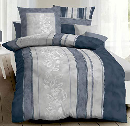 Kaeppel Linon Baumwolle Bettwäsche mit Reißverschluss 135x200 80x80 (740 Marine)