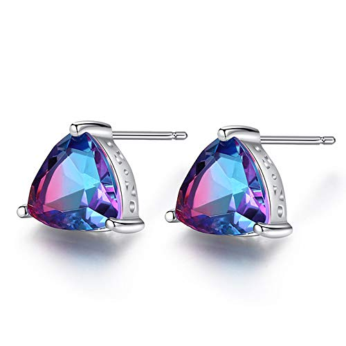 Silver plated stud earrings made of gold earrings silver 925 with coloured zirconia girls jewellery women gifts