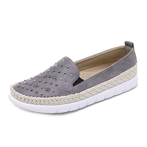 Morbuy Alpargatas para Mujer, Zapatos Planos Ocasionales Loafer Zapatos Moda Rhinestone Cuerda de cáñamo Banda elástica 35-42 (EU38 Apto para pies de Longitud 240MM, Gris)