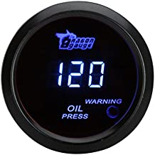 Docooler 52mm 2.0 inch LCD 0~120PSI Auto Car Digital Oil Pressure Meter Gauge with Warning Sensor Light - Black