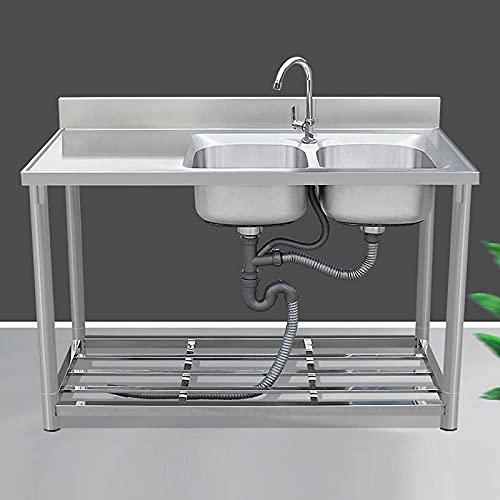 WQF Fregadero movible del abastecimiento del Fregadero Doble Comercial del Lavabo del Canal con 360 & deg;Grifo Giratorio Fregadero de Lavado a Mano con Unidad de Doble tazón de Acero INOX