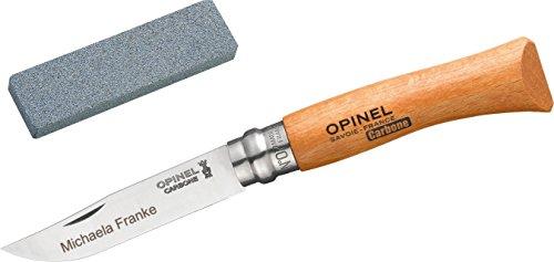Opinel No.7 Carbon Set: Taschenmesser + Schleifstein, Incl. Wunschgravur auf der Klinge in Geschenk-Schachtel