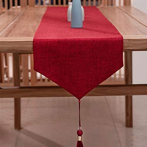 Orientalisk stil bord löpare för fest/festligheter/bröllop bord dekor, 33cm bred säng flagga med avtagbara tofsar, röd (Color : STYLE 4, Size : 33×210CM)