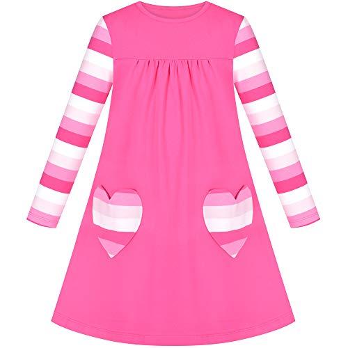 Vestido para niña Rosa Manga Larga Corazón Bolsillo Rayado Casual Algodón 3 años