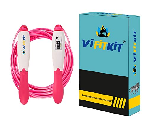 VIFITKIT® Jump Rope Kids for Girls Boys Women Skipping Rope with Number Counter Non-Slip Handle Tangle Free Rope Adjustable.Good Exercise Gym Training Tool for Adults & Kids (Pink)