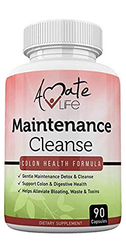 Colon Cleanse Daily Maintenance Detox Formula- Bloating & Constipation Relief Laxative with Psyllium Husk, Aloe Vera, Black Walnut Hull- for Men and Women 90 Capsules Made in USA by Amate Life