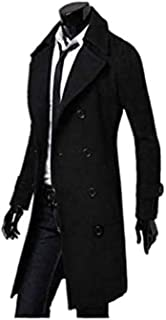 Men's Trench Coat Winter Jacket Double Breasted Overcoat black Size-M G8008B