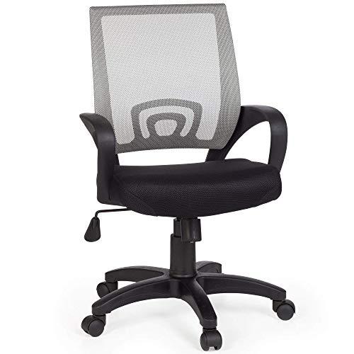 FineBuy Bürostuhl OLEG Grau Schreibtischstuhl Stoff Drehstuhl mit Armlehne Jugend-Stuhl Büro-Sessel höhenverstellbar Netz 120 KG Netz ohne Kopfstütze Wippfunktion Lendenwirbelstütze