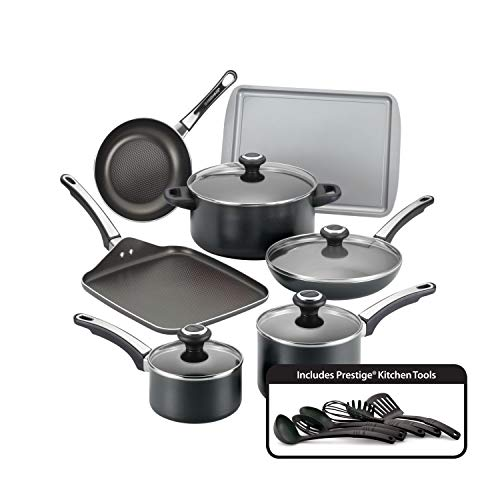 Farberware High Performance Nonstick Cookware Pots and Pans Set Dishwasher Safe, 17 Piece, Black