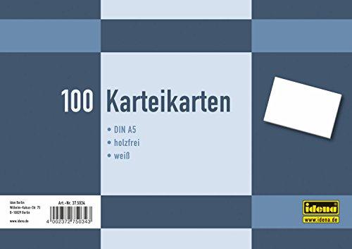 Idena 375034 - Karteikarten DIN A5, 100 Stück, 180 g/m², holzfreies Papier, eingeschweißt, blanko, weiß