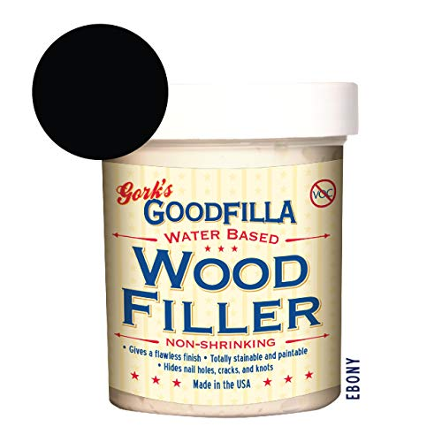 Water-Based Wood & Grain Filler - Ebony - 8 oz By Goodfilla | Replace Every Filler & Putty | Repairs, Finishes & Patches | Paintable, Stainable, Sandable & Quick Drying
