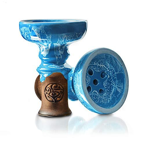 ORACLE HOOKAH® Shisha Kopf - Premium Glasur Tonkopf - Bowl für Shisha und Wasserpfeifen (blau)