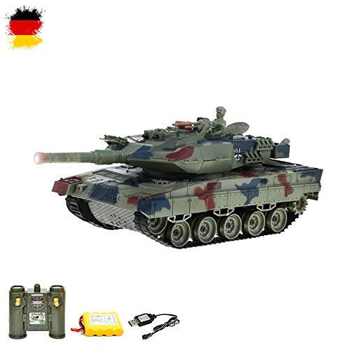 HSP Himoto German Leopard II 2A5 RC Ferngesteuerter Panzer 2.4GHz Tank Militär-Fahrzeug Modell, 1:24 Gefechtmodi, Schusssimulation, Sound und Beleuchtung, Komplett-Set mit Akku und USB-Ladekabel
