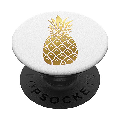 Golden Pineapple on a white pattern PopSockets PopGrip: Swappable Grip for Phones & Tablets