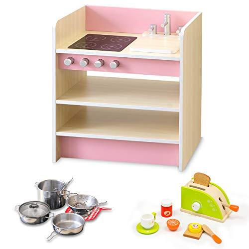 RiZKiZ おままごとキッチン 2WAYタイプ 【ピンク】 & ステンレス製お鍋セット & トースターセット 裏返すと収納ラックとして使える リバーシブル 木製 安心安全設計 子供用 組立式