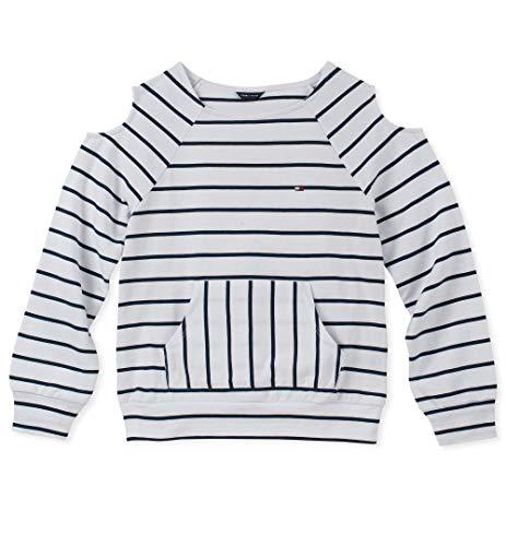 Tommy Hilfiger Big Girls' Cold Sholder Stripe Hoodie, White, 12/14