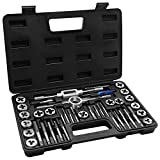 Uooker 40 Pieces Ba Tap and Die Set, Metric Tap and Die Set, Split Dies with Storage Case, Tap Wrench Alloy Steel for Internal and External Thread Tapping Cutting Set