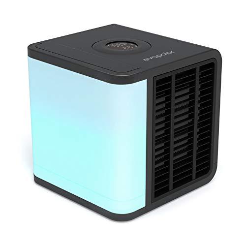 Evapolar evaLIGHT Plus Luftkühler & Luftbefeuchter - Tragbarer Kühl-Ventilator mit Vollspektrum-LED-Hintergrundbeleuchtung - Flüsterleise, einfach zu bedienen, stilvoll, effizient - Schwarz, EV-1500