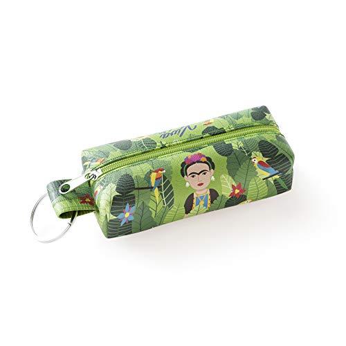 Designer Souvenirs - Llavero con Monedero de Diseño Frida Kahlo | Mini Monedero Ideal para Regalar | Piel Sintética 100% Eco-Friendly | 3,5x3x4,5 cm | Colección Viva la Vida Viva la Vida