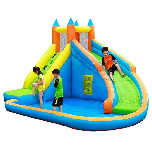 Tobogán para Niños Chorro De Agua Inflable Castillo Inflable para Escalar Pequeñas Rocas Patio De Juegos (Color : Blue, Size : 400 * 300 * 225cm)