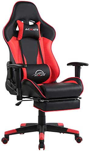 Acmate Massage Gaming Chair Ergonomic Computer Chair with Footrest Reclining Computer Gaming Chair Racing Style Gamer Chair High Back Gaming Desk Chair with Headrest and Lumbar Support(Black/Red) Chairs Dining Features Game Kitchen Video