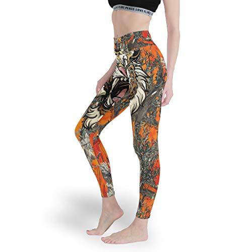 Tiger Damen-Leggings mit Farbdruck, für Radfahren, Bauchkontrolle, Strumpfhose für Frauen Gr. XXXL, weiß