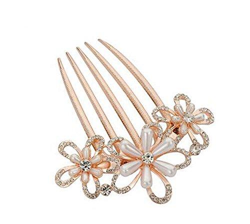 Style Européen Peigne Métal Fleur Perle strass décoration cheveux