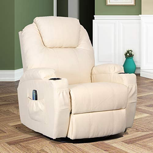 Best Esright Massage Recliner Chair Heated PU Leather Ergonomic Lounge 360 Degree Swivel (Cream)