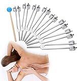 Instrumento de diapasón, herramienta de diagnóstico, juego de diapasones, martillo, médico, 8 diapasones para relajación, cuidado saludable, curación de enfermería