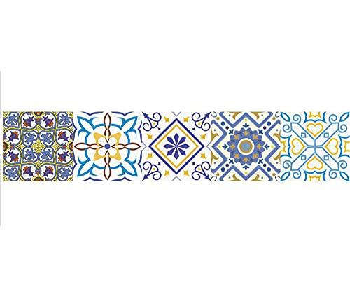 Pegatinas de azulejos Striscia di illustrazione di fiori in stile europeo Azulejos Pegatina para baños cocinaImpermeable autoadhesivo Borde decorativo 15X75cmX1pcs