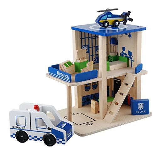 Lalia Polizeistation aus Holz, für Kinder ab 3 Jahren. 40x40x30cm 100% Holz, Holzspielzeug. Viele Bunte Teile. Für kleine Polizisten.Tolles Geschenk Polizei
