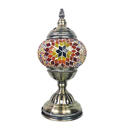 Tafellamp, Turks Mozaïek Handgemaakte Unieke Glas Lamp met Bronzen Basis, Mooie Led Lampen Home Decor voor Slaapkamer Woonkamer Koffietafel