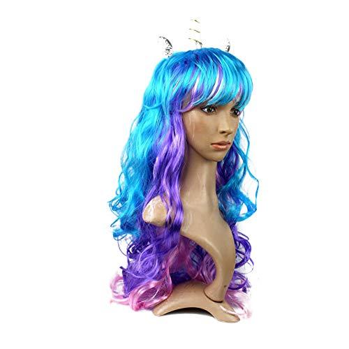 Peluca de unicornio, cuerno y orejas de unicornio, peluca creativa, colorida, ideal para nios, nias, adolescentes y adultos, regalo (cuerno plateado)