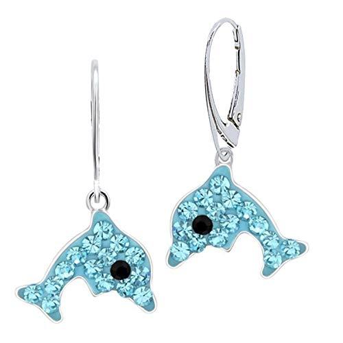 Orecchini a forma di delfino, in vero argento 925, per bambine e ragazze e Argento, colore: azzurro, cod. BR-10711
