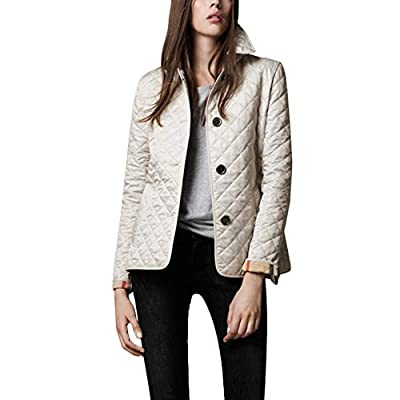 Flygo Women's Diamond Quilted Jacket Stand Collar Button Closure Coat with Pockets (Beige, Medium) from
