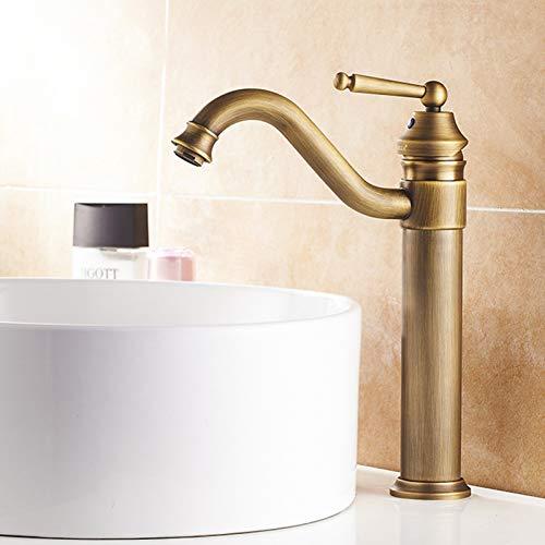 YHSGY Waschtischarmaturen Antiker Messing-Auslauf Einloch-Waschtisch Wasserhahn Deckmontierte Waschtisch-Mischbatterie