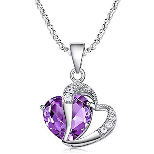 Générique Mode Cristal Collier Violet Forme de Coeur Strass Pendentif Collier Charme Chaîne Cadeau de Bijoux par SamGreatWorld