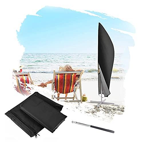 Funda Sombrilla, Impermeable con Poste Telescópico Exterior Negro Cubierta De Sombrilla Cubiertas para Muebles De Patio para Sombrillas Al Aire Libre ZHANGXU (Color : Black, Size : 266cm)