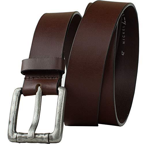 Pathfinder Brown Belt - Nickel Zero - Full Grain Brown Leather Belt with Nickel Free Zinc Buckle (32')
