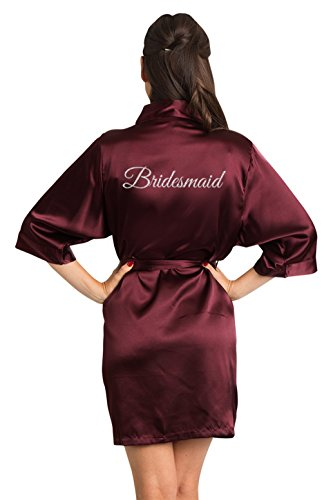 Zynotti Women's Silver Glitter Print Bridesmaid Getting Ready Bridal Party Wedding Kinomo Wine Burgundy Satin Robe, L/XL (14-20)