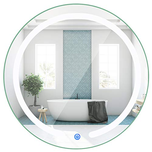 Tangkula 20' LED Mirror Round Wall Mount Lighted Mirror Bathroom Bedroom Home Furniture Illuminated Vanity Make Up Lamp Wall Mounted Mirror with Touch Button (20')
