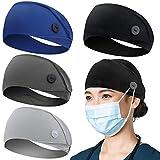 Headbands with Button for Mask, Wide Nurses Headbands Non Slip Elastic Ear Protection for Women Men Doctors Sweatband Head Wrap for Yoga Sports (4 Pack, Black + Blue + Deep Grey + Light Grey)